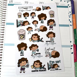 "Coffee Addict, ""Coffee, Please!"" Planner Girl, Hand drawn deco stickers, 3 options, exhausted, tired, grumpy planner girls - ColumbusRoadPrints"