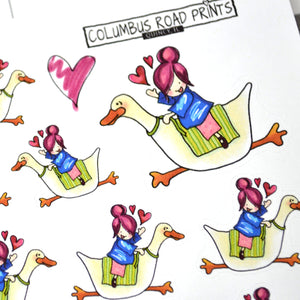 """I'm Outta Here!"", busy planner girl, duck rider girl - ColumbusRoadPrints"
