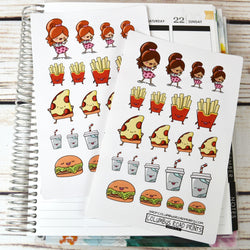 Fast Food Planner Girl Stickers, planner stickers, burgers, fries, milkshake, pizza, girl stickers, fast food, fits all planners