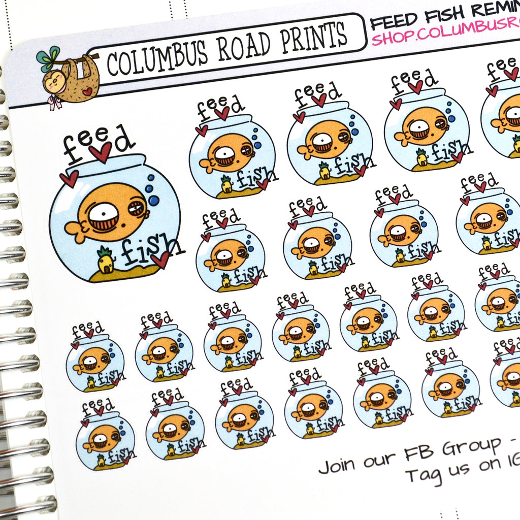 [DA18] Feed fish reminder stickers, fishbowl, pet care planner stickers - ColumbusRoadPrints