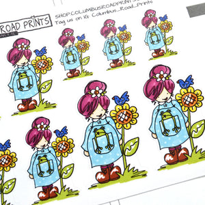 "Planner Girl ""Froggy"" planner stickers, decorative planner stickers fits all planners, fits Erin Condren, Personal Planner"