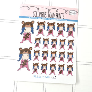 [DA46a] Sleepy Girl - Peachy Skin - PLANNER STICKERS