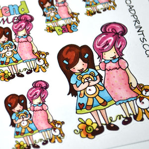 Play Date, Friend Time, Planner Girls planner stickers