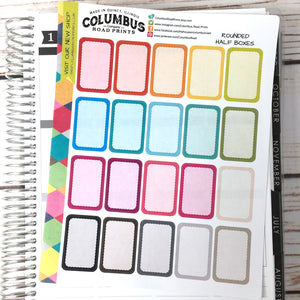 "Rounded Half Box Planner Stickers ""Multicolor Focus"", fits Erin Condren Vertical Life Planner, Rounded Half boxes, Multicolor Stickers"