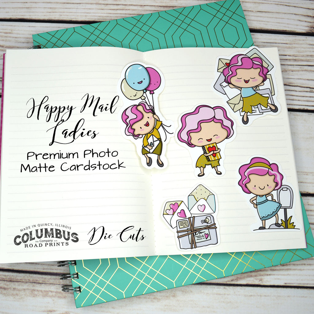 DCG105 Happy Mail Ladies, Die Cuts, happy mail planner gals, hand drawn art, premium cardstock, die cuts, planner girls - ColumbusRoadPrints