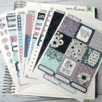 HORIZONTAL -- Anemone Dreams -- weekly kit or a la carte, Floral weekly kit fits EC Lifeplanner, Horizontal Planner Sticker Kit