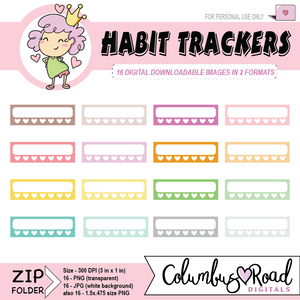 Habit Trackers, DIGITAL DOWNLOADABLE CLIPART, habit trackers with hearts, Goodnotes art, sticker art
