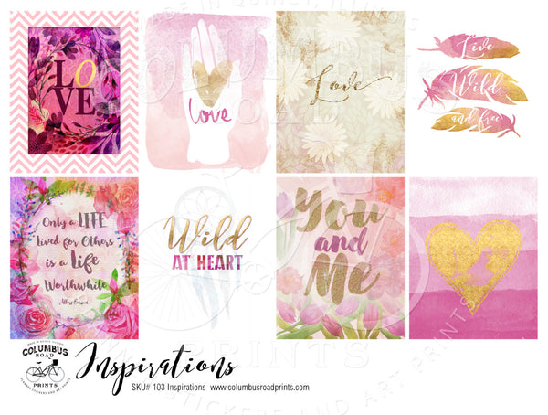 Inspirational Art and Quote Full Boxes, fits Erin Condren VERTICAL Life Planners