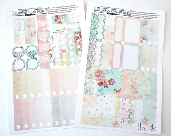 "SALE ""Soft Floral"" Floral Planner Stickers, romantic kit fits Erin Condren Vertical Life Planners"