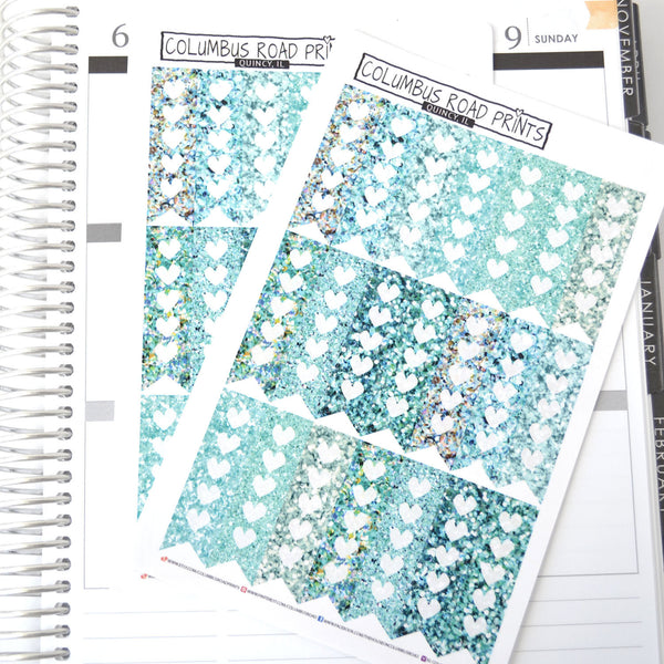 Teal Glitter image vertical checklist flags - ColumbusRoadPrints
