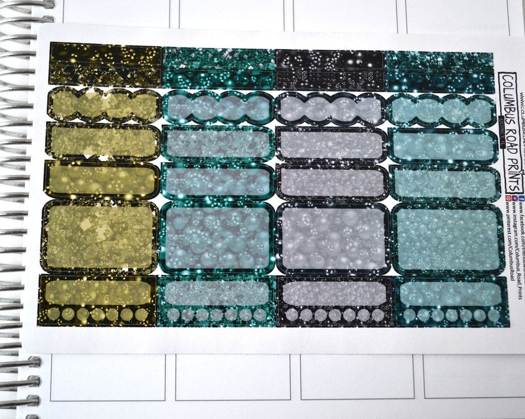 Dark Teal and Green bobbles sparkly glitter image, vertical fits EC
