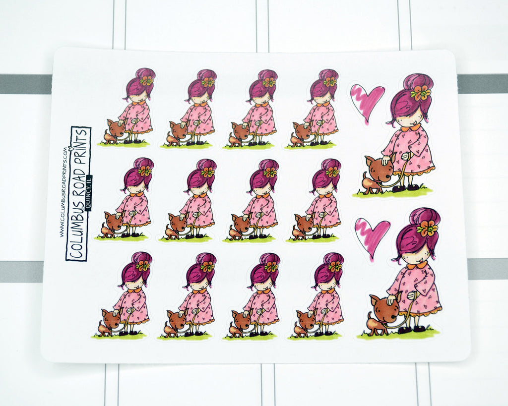 """Dog Care"" Planner Girl Stickers - ColumbusRoadPrints"