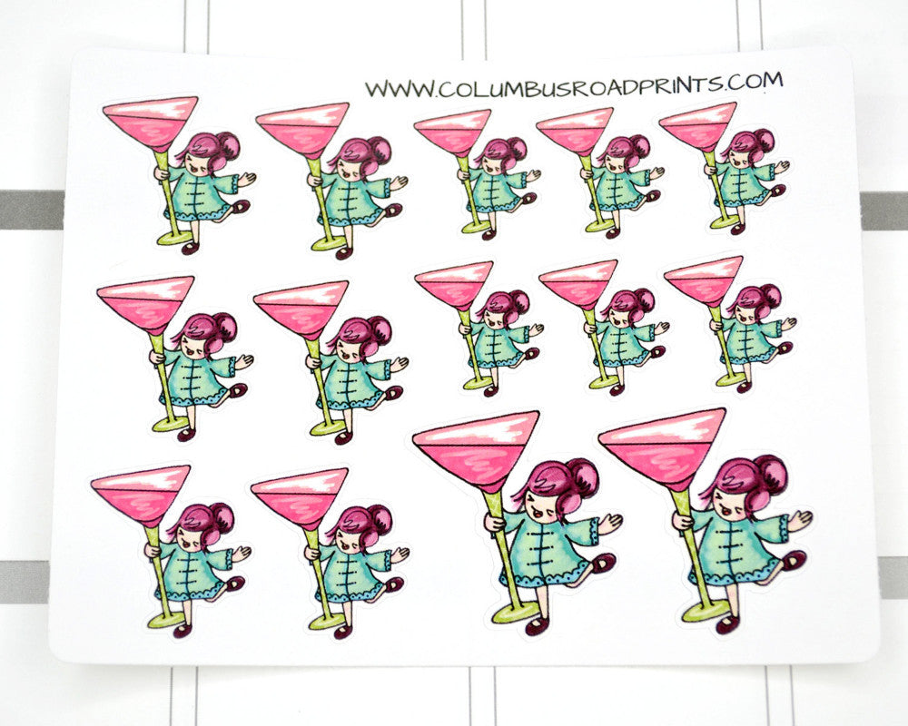 """Martini"" Happy Hour, Girl's Night Out Stickers - ColumbusRoadPrints"