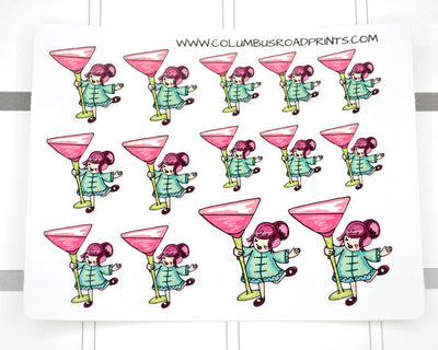 drink nights girls night out planner stickers