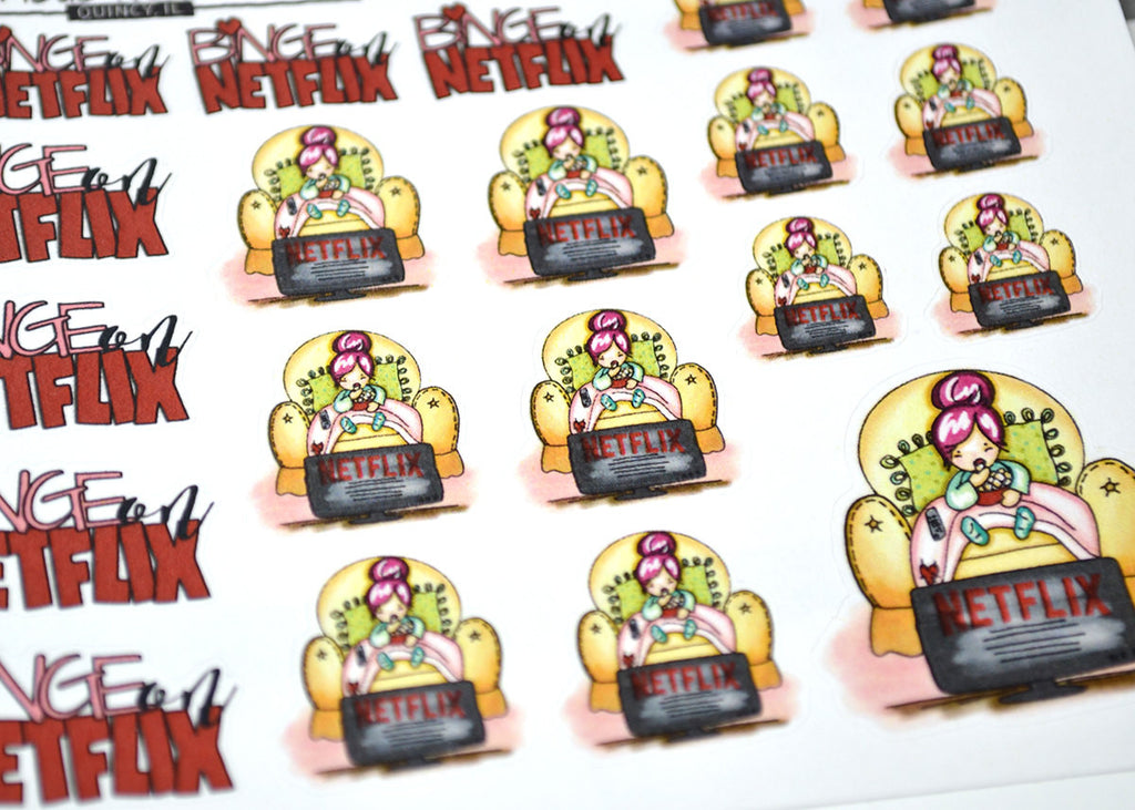 """Movie Time"" Planner Girl Stickers - ColumbusRoadPrints"