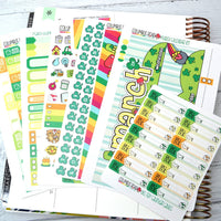 CALENDAR KIT --  St. Patty's Day -- March 2019 Collection, monthly calendar page kit fits EC Life Planner 7x9, St Patrick's Day Kit