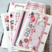 CALENDAR KIT --  Georgia Valentine -- February 2019 Collection, monthly calendar page kit fits EC Life Planner 7x9
