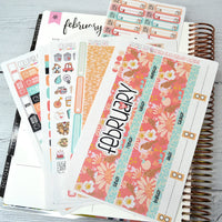 CALENDAR KIT --  Georgia Peach -- February 2019 Collection, monthly calendar page kit fits EC Life Planner 7x9
