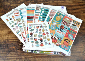 VERTICAL -- Retro Fever -- weekly kit or a la carte, retro kitchen weekly kit fits EC Lifeplanner, Vertical Planner Sticker Kit