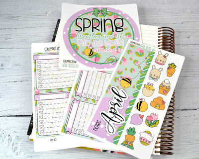 NOTES KIT --  Easter Sweetness -- April 2019 Collection, notes page kit fits EC Life Planner 7x9, April Notes Page Kit