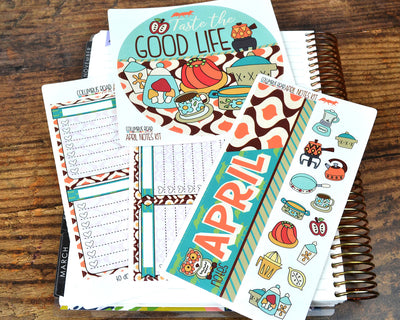NOTES KIT --  Retro Fever -- April 2019 Collection, notes page kit fits EC Life Planner 7x9, April Notes Page Kit