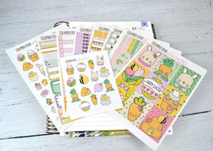 VERTICAL -- Easter Sweetness -- weekly kit or a la carte, Whimsical weekly kit fits EC Lifeplanner, Vertical Planner Sticker Kit