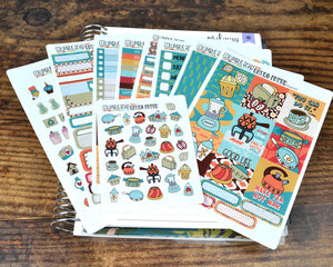 HORIZONTAL -- Retro Fever -- weekly kit or a la carte, weekly kit fits EC Lifeplanner, Horizontal Planner Sticker Kit