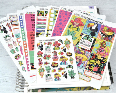 HORIZONTAL two skin options -- Bohemian Jungle -- weekly kit or a la carte, weekly kit fits EC Lifeplanner, Horizontal Planner Sticker Kit