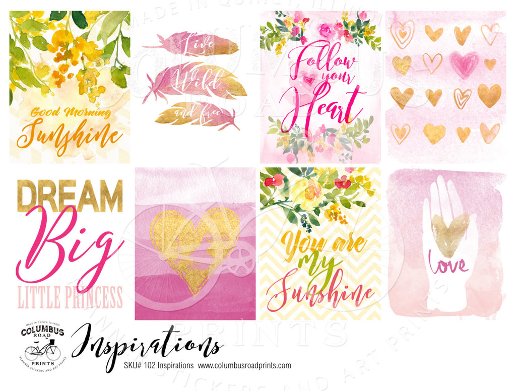 Inspirational Art and Quote Full Boxes, fits Erin Condren VERTICAL Life Planners - ColumbusRoadPrints