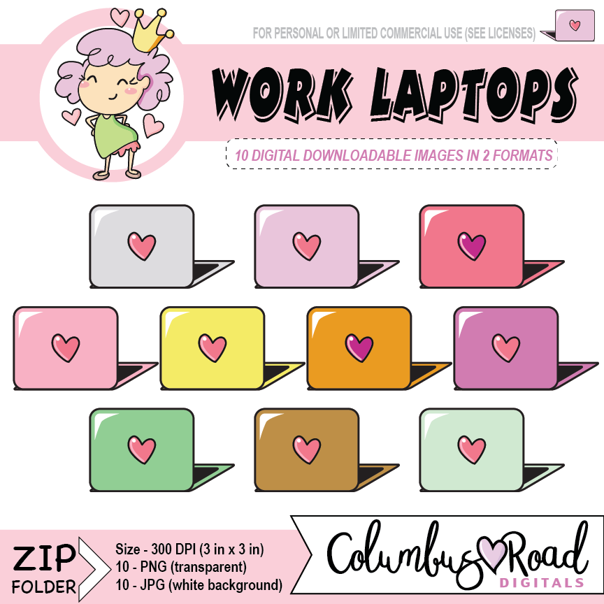 Work Laptops, DIGITAL DOWNLOADABLE CLIPART, laptop artwork, Goodnotes art, sticker art - ColumbusRoadPrints