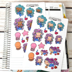 Mermaid Planner Girl Stickers, planner stickers, mermaid planner girl, octopus, starfish, jellyfish, fish, sea stickers, fits all planners