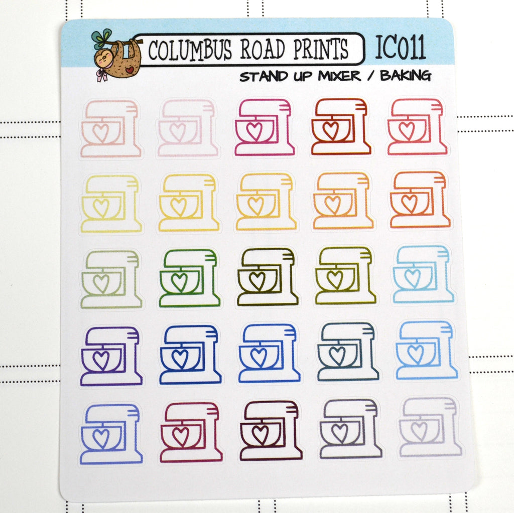 [IC011] Multicolor Stand Up Mixer, Baking, Cooking, mixer icons - ColumbusRoadPrints