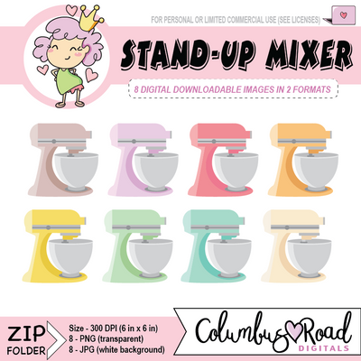 Stand-Up Mixer, DIGITAL DOWNLOADABLE CLIPART, like kitchen-aid mixer, cooking, Goodnotes art - ColumbusRoadPrints