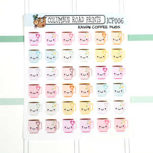[ICP006] KAWAII COFFEE MUGS, kawaii planner stickers, coffee stickers - ColumbusRoadPrints