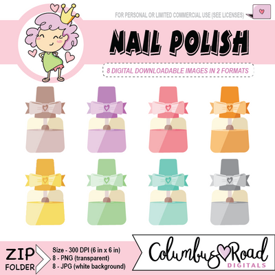 Cute Nailpolish, DIGITAL DOWNLOADABLE CLIPART, fingernail polish, Goodnotes art - ColumbusRoadPrints