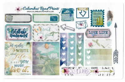 Planner sticker sheet, Nature Walk