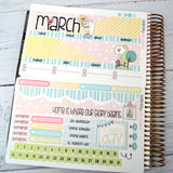CALENDAR KIT -- My Heart My Home -- March 2019 Collection, monthly calendar page kit fits EC Life Planner 7x9, March Calendar Kit