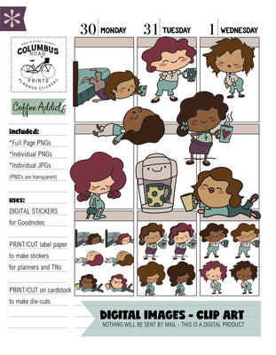 DIGITAL STICKERS, Goodnotes, Coffee Addict, coffee lover clipart, png, jpg, digital downloadable clipart