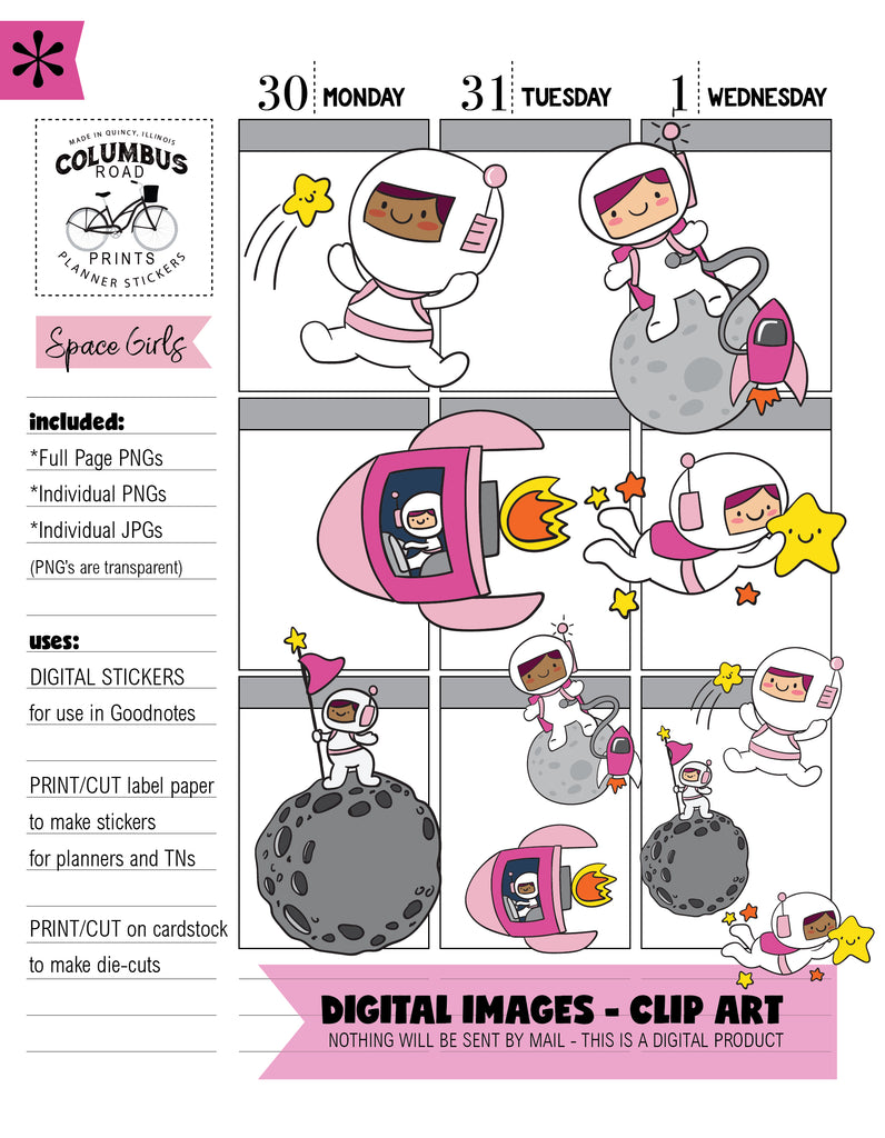 DIGITAL STICKERS, Goodnotes, Space Girls, planner girls flying high, png, jpg, digital downloadable clipart, iPlanner stickers