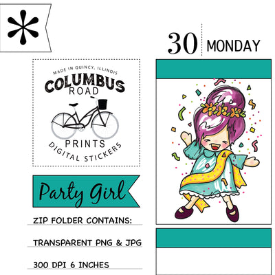 Party Birthday Girl, Digital sticker, Clip Art