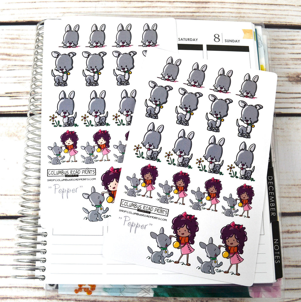"German Shepherd Puppy, ""Pepper"" and Girl playing, planner stickers, dog stickers, pet stickers, fits all planners"