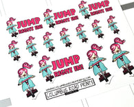 "FEARLESS, ""Jump Right In"" Girl on Pogo, hand drawn planner girl stickers, fits all planners"