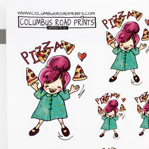 pizza time planner girl stickers