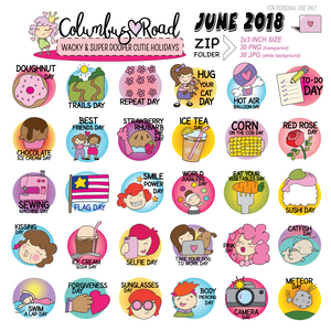 June 2018 Wacky Holidays Clipart, Original Digital clipart, Hand Drawn wacky holiday clipart - ColumbusRoadPrints
