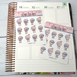 [1101/02]PLANNER GIRL -- Sassy -- mocha skin and peach skin tone girl planner girl stickers, see me in a crown, fits most planners