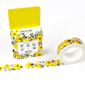 Yellow Floral Japanese Watercolor Washi, Shades of yellow and green, flowers, floral washi 15mmx7m