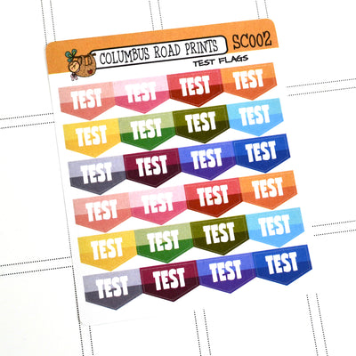 [SC002] Test Flags, School Test stickers, test markers, flags