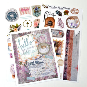 "TN03 Traveler's Notebook stickers kit, ""Coffee Time"" 2 sheet sticker kit, traveler's Notebook kit, decorative stickers fits Midori, fauxdori - ColumbusRoadPrints"