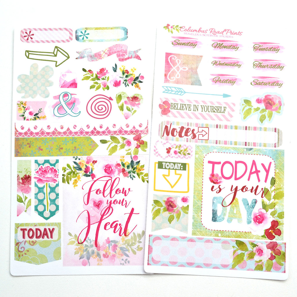 TRAVELER'S NOTEBOOK, sticker kit, 2 sheet Romantic travelers Notebook kit, floral, decorative stickers for fauxdori - ColumbusRoadPrints