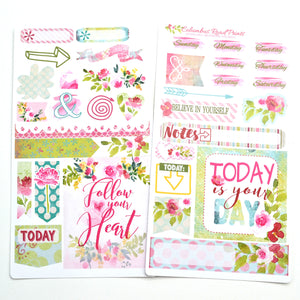 TRAVELER'S NOTEBOOK, sticker kit, 2 sheet Romantic travelers Notebook kit, floral, decorative stickers for fauxdori TN01 - ColumbusRoadPrints